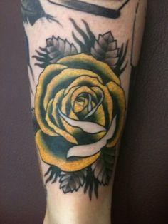 Yellow and black rose tattoo #tattoo #rose #binspired