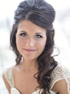 bridal hairstyles half up half down medium length hair - Google Search