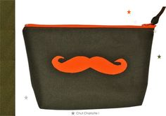 Trousse de toilette moustache orange fluo pour homme