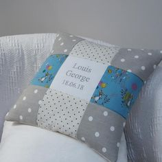 Peter Rabbit© Name And Date Cushion by Tuppenny House Designs, the perfect gift for Explore more unique gifts in our curated marketplace. Beatrix Potter, Rabbit Names, Patchwork Designs, Peter Rabbit, Memorable Gifts, Cute Illustration, Christening, New Baby Products, Unique Gifts