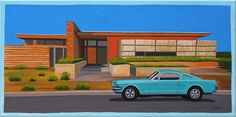 Mid Century Modern Eames Retro Limited Edition Print from Original Painting 1967 Ford Mustang Desert House Mid Century Modern Decor, Mid Century Art, Mid Century House, Ford Mustang, Eames, Vintage House Plans, Desert Homes, Guache, Architecture