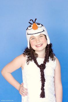 Frozen Olaf Inspired Hat Crochet Pattern sized for 10 year old