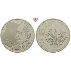 Bundesrepublik Deutschland, 10 Euro 2012, Gerhart Hauptmann, J, 10,0 g fein, PP: 10 Euro 2012 J. Gerhart Hauptmann. Polierte Platte… #coins