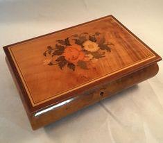 Jewelry Box Italian Burl Wood Lacquer Inlay Reuge Swiss Musical Lara s Theme Vtg