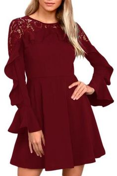 New Womens Ladies Belted Floral Lace Long Sleeve Skater Flared Dress