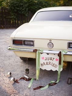 "15. Making a ""Just Married"" sign    A ""Just Married"" sign for the car is a classic tradition, and it makes for a fun photo op. Make your own, enlist a crafty friend, or look online at sites like Etsy to buy one premade."