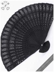 Lamia black wood folding fan