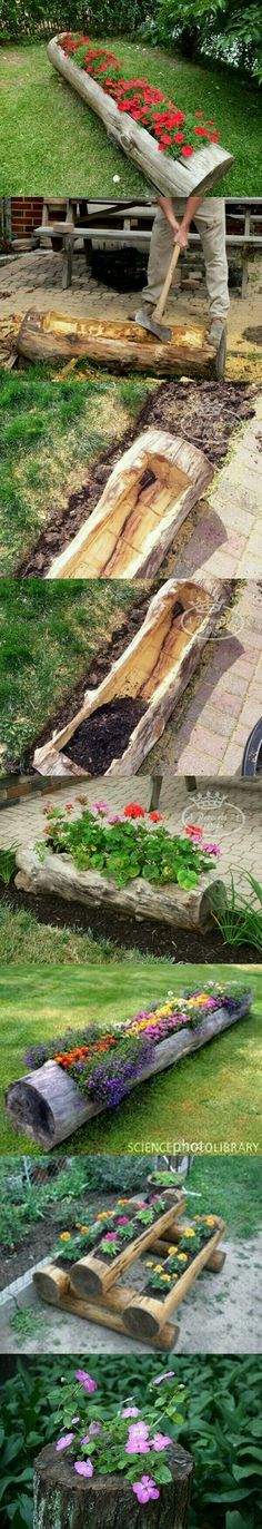garden care tips Creative DIY Projects for Your Garden or Backyard 2018 Make Beautiful Log Garden Planter.Make Beautiful Log Garden Planter. Log Planter, Garden Planters, Diy Planters, Rocks Garden, Succulent Planters, Planter Ideas, Flower Planters, Succulents Garden, Hanging Planters