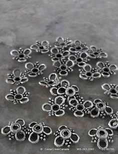 Tibetan Antique Silver 10mm Flower Bead Caps              CC-80799