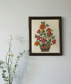 Floral Cross Stitch, Framed Needlepoint, Framed Needlework Vintage Crewel Embroidery, Flower Cross Stitch, Crewel Embroidery, Framed Cross Stitch, Flower Wall Decor by ShopMidCenturyModest