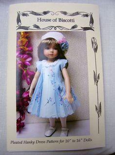 "Pattern for Old Fashioned Pleated Hanky Dress 10"" to 16"" Dolls Ann Estelle | eBay"