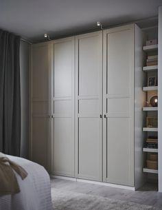 Ikea Pax Wardrobe, Bedroom Wardrobe, Wardrobes For Bedrooms, Built In Wardrobe Doors, Double Wardrobe, Ikea Pax Closet, Ikea Fitted Wardrobes, White Wardrobe, Wardrobe Wall