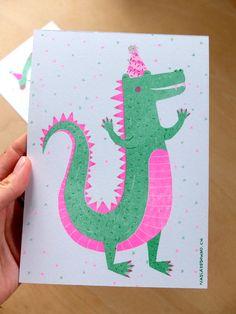 Nadia de Donno / Risography A5: 4 CHF croco - illustration - green - pink Chf, Graphic Design, Illustration, Green, Hands, Illustrations