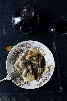 Pork cheek ravioli with cèpes (recipe) / by Manger