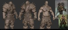 Diablo Barbarian - Heavy Armor WIP, Bruno Camara on ArtStation at https://www.artstation.com/artwork/nv3z9