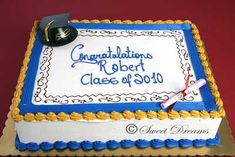 blue and gold graduation half sheet cake | ½ sheet serves 50 people $ 95 00 full sheet serves 100 people $ 180 ...