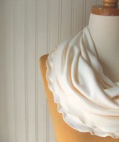Vanilla Cream Infinity Scarf Ruffled Cotton Jersey by JANNYSGIRL, $18.00
