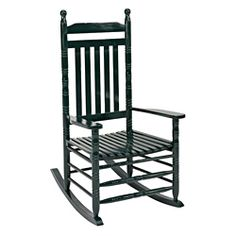 @Overstock - Made of kiln-dried hardwood and painted in a gloss hunter green finish, this rocker will support 250 pounds. The chair features a high back for comfort, classic design, easy assembly and is perfect for patios or porches with a covered roof.http://www.overstock.com/Home-Garden/Knollwood-Classic-Porch-Rocker/6965001/product.html?CID=214117 $80.99