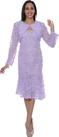 Lilac Lace Church Dress DN5562 - Divine Church Suits