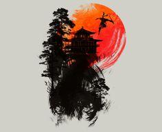 A japanese ninja flys into the darkness.