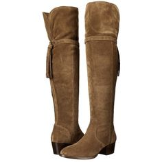 Frye Clara Tassel Over-The-Knee (Cashew Oiled Suede) Women's Boots ($548) ❤ liked on Polyvore featuring shoes, boots, over-the-knee boots, cuffed boots, over the knee thigh high boots, suede thigh-high boots, fold-over boots and tassel boots