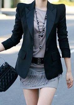 Stylish Lapel Collar One Button Design Shoulder Padded Long Sleeves Women's Black Blazer Blazers For Women, Suits For Women, Clothes For Women, Cheap Blazers, Fall Clothes, Tuxedo Suit, Tuxedo Jacket, Classic Style Women, Blazer Fashion