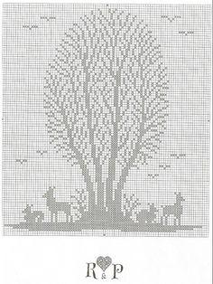 Framed Trees 2 of 3 Cross Stitch Tree, Just Cross Stitch, Cross Stitch Animals, Cross Stitch Flowers, Cross Stitch Charts, Cross Stitch Patterns, Crochet Skull Patterns, Embroidery Patterns, Cross Stitching