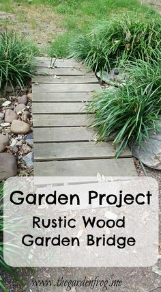 Here's an idea for a rustic wood garden bridge you can create for under $10. Fence pickets and treated timbers or other treated lumber Garden In The Woods, Home And Garden, Garden Frogs, Wood Bridge, Garden Projects, Garden Bridge, Rustic Wood, Diys, Bricolage