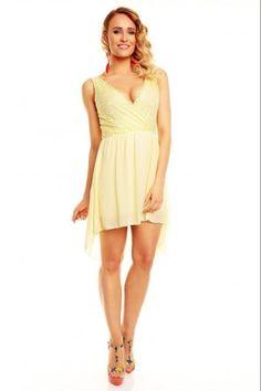 Ασύμμετρο μίνι φόρεμα με δαντέλα - Κίτρινο