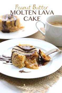 Low carb grain-free Peanut Butter Molten Lava Cakes. The best dessert ever and less than 5 g net carbs! #lowcarb #keto #sugarfree