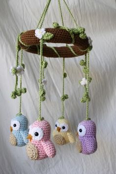 Comfort Creatures: Owl mobiles made from patterns in Amigurumi World and Amiguru. - Before After DIY Crochet Owls, Crochet Amigurumi, Crochet Animals, Crochet Crafts, Yarn Crafts, Crochet Projects, Knit Crochet, Crochet Patterns, Crochet Tree