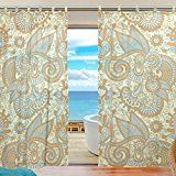 """Amazon.com: SUABO 2PCS Ultra Luxurious Window Gauze Curtains, Polyester Washable Sheer Window Curtain Panels for Bedroom Living Room 55""""W x 78""""L - (Set of 2 Panels), Floral Paisley Pattern: Home & Kitchen"""