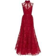 Elie Saab Sleeveless Lace And Silk Georgette Gown (36.290 RON) ❤ liked on Polyvore featuring dresses, gowns, red floral dress, lace overlay gown, red a line dress, red evening dresses and red dress