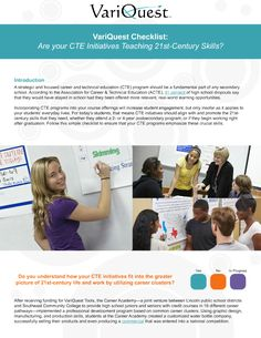 Free Checklist: Are your CTE Program Initiatives Teaching Skills? 21st Century Classroom, 21st Century Learning, 21st Century Skills, Learning Environments, Secondary School, Student, Teaching, Education, Free