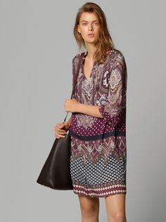 PRINTED TUNIC DRESS - Massimo Dutti.  Nice with ballet flats and tights or long boots or even bare legs and flips flops in the summer...