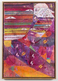 Alexander Tovborg  Prometheus (IV), 2015 Acrylic, felt, gold leaf and collage on canvas 25 ½ x 17 ¾ inches