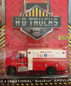 Scale Greenlight H. Trucks International DuraStar FDNY Ambulance (I have this except the wheels are not green) Toy Trucks, Fire Trucks, Lego Bathroom, Police, Automobile, Ho Model Trains, Custom Hot Wheels, Collectible Toys, Ford