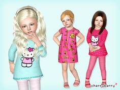 The Sims Resource - TSR Cute kitty toddler outfit set by CherryBerrySim - Sims 3 Downloads CC Caboodle