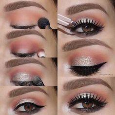 Peachy Eye Makeup Tutorial for Brown Eyes