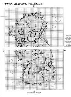 Charts Cross Stitch: Schematic cross stitch Tatty teddie