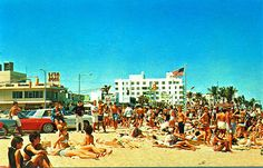 Postcard of Ft. Lauderdale Beach during Spring Break, 1960s