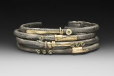 4 bracelets by Roger Rimel-Sterling gold, fused gold, sapphires Funky Jewelry, Modern Jewelry, Metal Jewelry, Jewelry Art, Silver Jewelry, Jewelry Design, Yoga Jewelry, Diamond Bracelets, Silver Bracelets