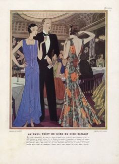 Philippe et Gaston 1929 Pierre Mourgue, Evening Gown, Fashion Illustration