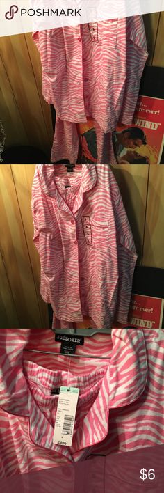 Joe Boxer New flannel type pj set This is a pair of new pjs button down top and bottoms.  They are Joe Boxer Brand size small new with tags.  They are pink and white zebra and flannel type fabric Joe Boxer Intimates & Sleepwear Pajamas