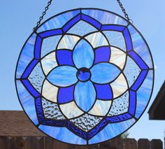 VITRAL MANDALA - Azul Cobalto Jeweled vitral, panel de cristal, redondo azul Suncatcher, regalo para ella, regalo para la mamá, la Navidad