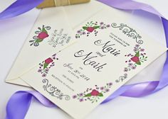 Hand painted wedding invitations in Radiant Orchid. Beautiful painted filigree detail. #beholddesignz