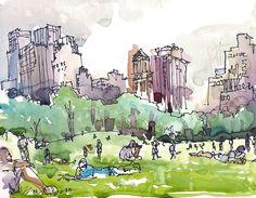 New York, Central Park watercolor sketch, Sheep Meadow a watercolor sketch in grey and green - archival art print door SketchAway op Etsy