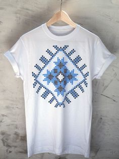 Romanian blouse by Ciprian Vrabie Popular Pins, Street Wear, Blouse, My Style, Ethnic, Mens Tops, T Shirt, Cross Stitch, How To Wear