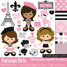 Parisian Girls - Clip art and digital paper set - Paris clipart