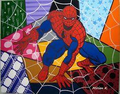 Atelier de Arte Julainne: Homem Aranha- tela de personagens infantis